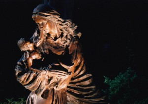 Life-size bronze sculpture of Madonna and Child required lighting from three angles to show the figure and both faces.